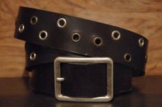 Black Leather Eyelet Belt  Size  Belt Buckle by CUERO925LEATHER, €25.00