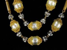 Signed Hobe Beaded Necklace Golden Brass Jonquil Moonglow