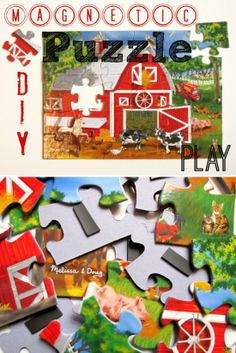 {Make Puzzles NEW} Put magnetic tape on the pieces, scatter it on the fridge, and wait for your child to re-discover it!