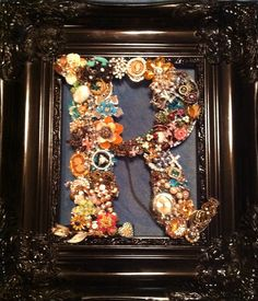 Bejeweled R made from junk jewelry for my daughter Sarah Groves Robinson
