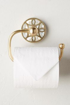 lovely idea single post toilet paper holder. Add a little class with pretty paper holder of brass mother pearl  detail Bathroom StuffBathroom IdeasDesign The prettiest toilet EVER BATHROOMS Pinterest