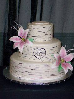 birch bark inspired cake