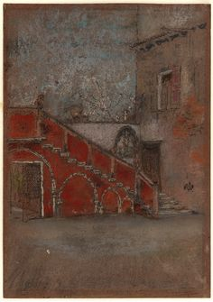 James McNeill Whistler The Staircase: Note in Red 1880 - Crayon and pastel on brown paper Freer and Sackler Galleries Pictures Of Venice, Italy Pictures, James Abbott Mcneill Whistler, Freer Gallery, French Paintings, Canadian Art, Art For Art Sake, American Artists, Art Studios