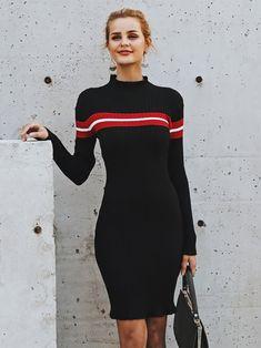 89b1bbd5a07 Casual Turtleneck Knitted Stripe Sweater Dress Slim Dress – BelleChloe  Casual Dresses