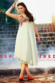 Best buy in Tempting Cream Color Georgette #Kurti.......