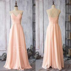 2015 Peach Chiffon Bridesmaid Dress, Blush Pink Wedding Dress ...