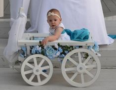 Buy Mini Wedding Medium Flower Girl Pumpkin Gloss Wagon, White at UnbeatableSale Wagon For Wedding, Dream Wedding, Wedding Wagons, Wedding White, Drink Bar, Large Flowers, White Flowers, Flower Girl Wagon, Flower Girls