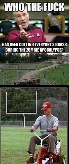 the walking dead. I don't even watch the show and this is hilarious! Reinbold, Sabo (show Kelsey please) Walking Dead Funny, Fear The Walking Dead, Forrest Gump Memes, Evil Dead, Jokes, Funny Memes, Twd Memes, Lol, Zombie Apocalypse