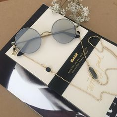 Sunglass Chain Sunglass Holder in Gold Plated with Crystal Cute Glasses, Gold Plated Bracelets, Gifts For Teens, Stones And Crystals, Plating, Chain, Sunglasses, Ladies Accessories, Rave Accessories