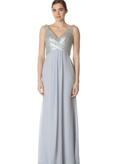 V-neck Chiffon Floor Length Gray Sequins A-line V-back Sleeveless Ruched Bridesmaid / Wedding Party Dresses