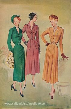 "1949 McCalls patterns-Fashion Daytimers    ""Smartly detailed day-timers    McCalls 1949"