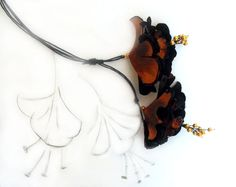 Lariat leather necklace terracotta branch by julishland on Etsy, $26.00