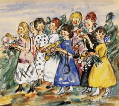 Edith Dimock - Country Girls Carrying Flowers