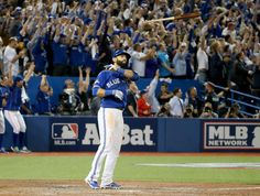 """Toronto Blue Jays' Jose Bautista dropped the mic on the American League Division Series (ALDS) Wednesday night with a """"bat flip seen round the world. Toronto Blue Jays, Hockey, Toronto Star, Toronto Life, American League, Go Blue, Texas Rangers, Espn, Sports Baseball"""
