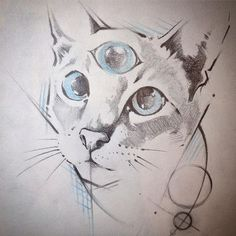 Inter dimensional space wizard #cat #catsofinstagram #catdrawing #cattattoo #tattoo #drawing #tattoodesign #sacredgeometry #sacredgeometrytattoo #thirdeye #thirdeyeblind #davematthewsband   Artist: @inxtain