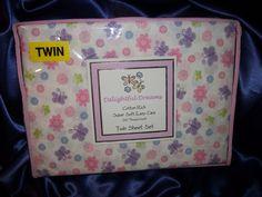 DELIGHTFUL DREAMS BUTTERFLIES FLOWERS TWIN SHEET SET COTTON RICH NIP $27.99