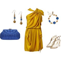 """""""Gold & Blue Cocktail Dress Outfit"""" by ggdesigns on Polyvore"""