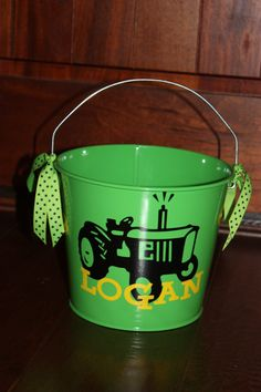Easter Pail Bucket Tractor Theme Personalized 5 by trendzbytwinz, $18.00