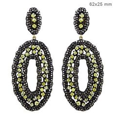 Natural-Pave-Diamond-Dangle-Earrings-Vintage-Style-Handmade-Jewelry-925-Silver