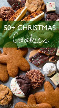 50+ Christmas Cookie Recipes including chocolate crinkle cookies, decorated sugar cookies, gingerbread men, slice 'n' bake cookies, mint chocolate brownies, thumbprint cookies, chocolate chip cookies, toffee, no-bake cookies, and more!