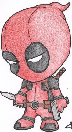 Little Deadpool von auf DeviantArt – Manga zeichnen - Cartoon Cute Disney Drawings, Cool Art Drawings, Pencil Art Drawings, Art Drawings Sketches, Drawing Ideas, Drawing Tips, Cool Cartoon Drawings, Scary Drawings, Random Drawings