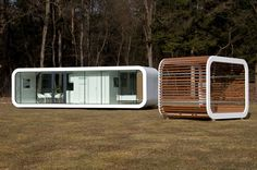 The Coodo's Stylish Modular Units Can be Combined to Create the Prefab Home of Your Dreams. Each unit can be made self-sufficient in terms of energy with the addition of renewable energy generating systems. Prefab Cabins, Prefab Homes, Container House Design, Tiny House Design, Sustainable Architecture, Architecture Design, Pavilion Architecture, Residential Architecture, Contemporary Architecture