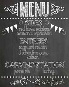 create a chalkboard menu to let guests know what will be served at your wedding - Chalkboard Designs Ideas