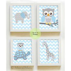 Elephant Nursery Wall Art  - Owl Nursery Wall Art - Nursery Art - Nursery Room Decor - Kids Elephant Print - Blue and Gray Nursery