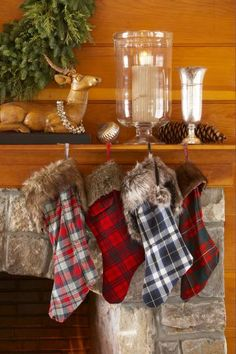 Flannel and Fur!  Turn old flannet shirts into country-style stockings, and top with a bank of faux fur.