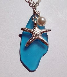 Olympian Blue Sea Glass With Starfish And Pearl Necklace Ocean Jewelry    Beach Jewelry   Friendship Gift  Seaglass. $18.00, via Etsy.