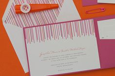 Swanky Stripes Wedding Invitation Suite from Dear LC. Pink and Orange wedding invitations
