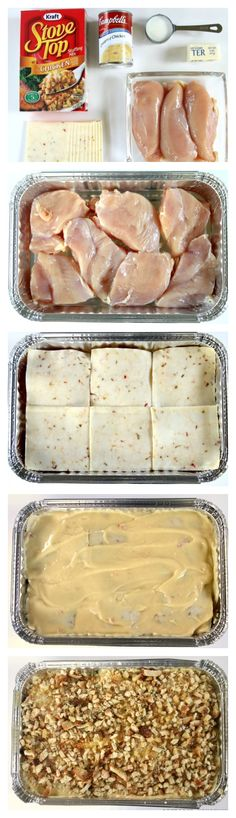 Swiss Cheese Chicken... 4 Chicken Breasts(enough to fill pan), 6 Slices Swiss Cheese, 1can Cream of Chicken Soup, ¼c milk, ½ box Stove Top Turkey Stuffing, ¼c butter.... Cover bottom of pan w/chicken, then layer w/Swiss. Mix soup w/¼ cup milk.Pour on chicken. Top w/½ bag(or more) Stove Top Turkey Stuffing. Drizzle w/¼c butter. Bake 350*45-60mins. Serve over rice.