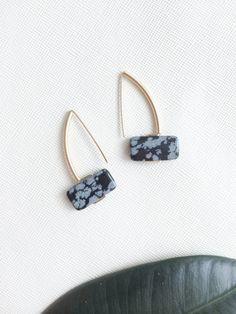 ETTORE earrings snowflake obsidian pillow by morningritualjewelry