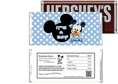Baby Mickey Candy Bar Wrapper It's a Boy - Baby Shower Party Supplies