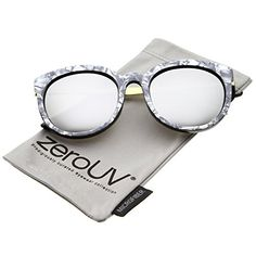 739cfdd6b3 zeroUV Womens Oversized Marble Finish Metal Temple Mirrored Lens Round  Sunglasses CharcoalGold Silver Mirror --