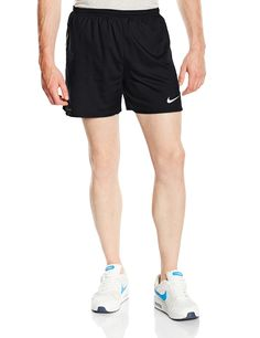"""Nike Men's 5"""" Racing Running Shorts, Black, Large. Dri-FIT fabric to wick sweat away and help keep you dry and comfortable. Elastic waist with interior drawcord for a snug, adjustable fit. Laser-cut perforations at sides for excellent ventilation. Built-in briefs for a comfortable, supportive fit. Zip pocket at back waist for secure storage."""