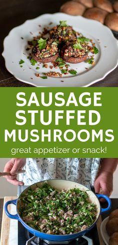 Sausage, Raisin And Walnut Stuffed Mushrooms Mushroom Appetizers, Healthy Appetizers, Appetizers For Party, Appetizer Recipes, Best Gluten Free Recipes, Gluten Free Cooking, Healthy Dinner Recipes, Best Mushroom Recipe, Mushroom Recipes