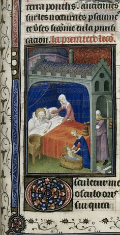 Breviary of John the Fearless and Margaret of Bavaria. Birth of the virgin. Medieval Manuscript, Illuminated Manuscript, Medieval Bedroom, Long Pillow, Renaissance, Medieval Life, Library Catalog, British Library, 14th Century