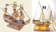 On the left is the Spanish galleon Nuetstra Senora De Atocha which sank in a hurricane off the coast of Florida in 1622. Modern treasure hunters were able to locate the wreckage and salvage the Atocha's treasure in 1985. On the right is a generic model of a buccaneer pirate ship from the same time period as the Atoch