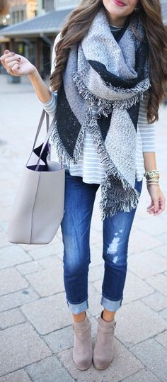 This outfit. I want everything! I really need a blanket scarf.