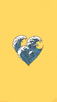 Wave heart on yellow VSCO wallpaper - Waves Wallpaper, Mood Wallpaper, Pastel Wallpaper, Tumblr Wallpaper, Aesthetic Iphone Wallpaper, Aesthetic Wallpapers, Good Vibes Wallpaper, Iphone Wallpaper Yellow, Iphone Wallpaper Vsco