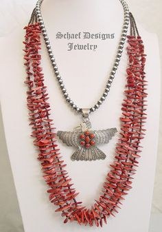 Native American jewelry red spiny oyster shell & pin shell 2 strand necklace | Schaef Designs  | New Mexico