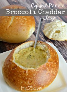 Broccoli Cheddar Soup (Panera Copycat Recipe) via Hip2Save: It's Not Your Grandma's Coupon Site! Focaccia, Scones, Brocolli Cheddar Soup, Broccoli Soup, Fresh Broccoli, Tapas, Cooking Recipes, Soup Recipes, Yummy Recipes