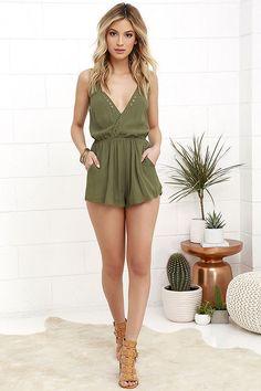 9a7639d432b Second Look Olive Green Romper