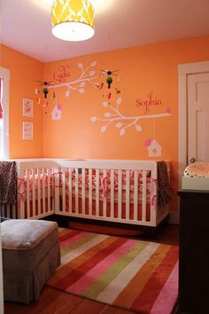 ideas for the girls' big girl room.. i actually like the orange. but i love that the branches have the babys name on them
