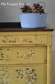 Vintage Mustard Dresser www.thepainteddrawer.com Yellow Painted Furniture, Chalk Paint Furniture, Distressed Furniture, Repurposed Furniture, Shabby Chic Furniture, Refinished Furniture, Mustard Dresser, Chalk Paint Finishes, American Paint Company