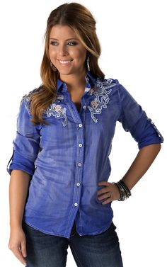 Roar Women's Spur of the Moment Blue with Floral Embroidery Long to 3/4 Sleeves Western Shirt