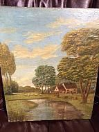 "WONDERFUL PASTORAL FARM SCENE PAINTING FROM THE 1800'S, 12"" X 14.5"", ON WOOD"