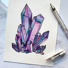 Art Hippie, Watercolor Paintings, Original Paintings, Watercolour, Crystal Drawing, Crystal Tattoo, Cool Art Drawings, Beautiful Paintings, Boho