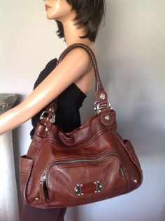 B. Makowsky Genuine Leather Bag Purse Cognac Brown Designer Fashion Stylish Chic #BMakowsky #Hobo